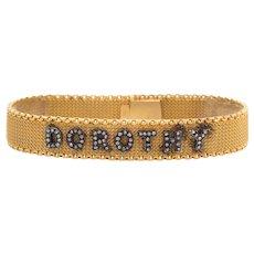 Antique Victorian Dorothy Bracelet 18 Karat Yellow Gold Old Rose Cut Diamond ID Name