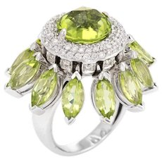 Vintage Peridot Diamond Movable Ring 18 Karat White Gold Cocktail Statement Jewelry
