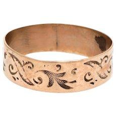 Antique Wedding Ring Victorian 14 Karat Rose Gold Embossed Leaf Pattern Vintage 7.5