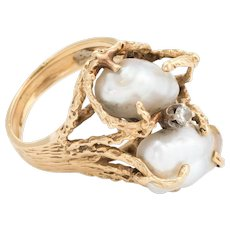 Vintage Baroque Pearl Diamond Ring Naturalistic 14 Karat Yellow Gold Estate Jewelry