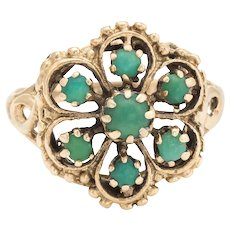 Vintage Turquoise Ring Flower 14 Karat Yellow Gold Sz 6 Estate Fine Jewelry Pre Owned