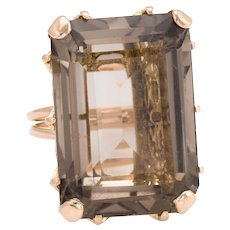 Vintage 45ct Smoky Quartz Cocktail Ring 18 Karat Rose Gold Estate Fine Jewelry Sz 5