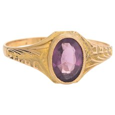 Antique Deco Amethyst Ring 10 Karat Yellow Gold Pinky Child Vintage Fine Jewelry 4.5
