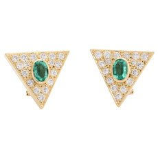 Vintage Triangle Earrings Emerald Diamond 14 Karat Yellow Gold Estate Fine Jewelry