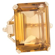 Vintage 40ct Citrine Ring Emerald Cut 14 Karat Yellow Gold Estate Fine Jewelry Pinky
