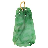Vintage Carved Jade Pendant 22 Karat Yellow Gold Bale Estate Fine Jewelry Heirloom