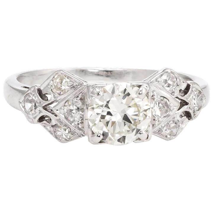 735d4d8df Antique Deco Diamond Engagement Ring Platinum Vintage Fine Jewelry : Sophie  Jane | Ruby Lane