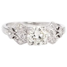 Antique Deco Diamond Engagement Ring Platinum Vintage Fine Jewelry Bridal Sz 4