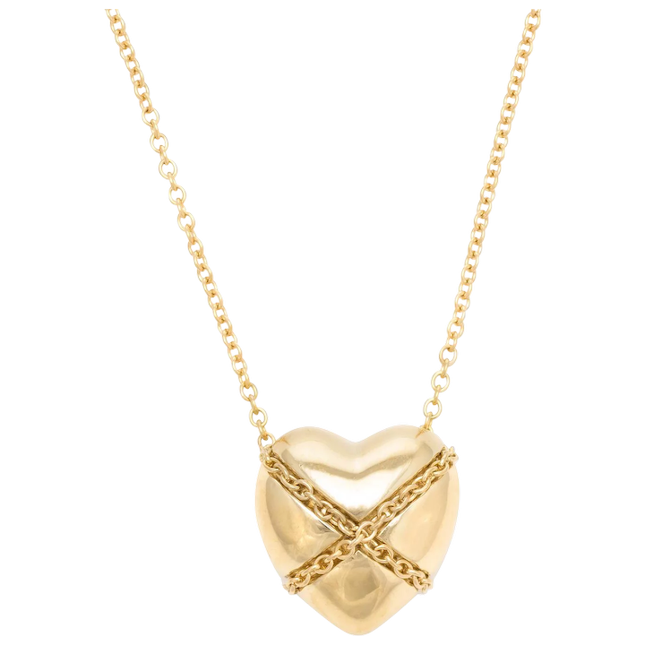 70be9b7af Vintage Tiffany & Co Cross My Heart Necklace 18 Karat Yellow Gold : Sophie  Jane | Ruby Lane