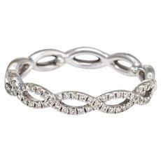 Diamond Stacking Ring Sz 6 Braided 14 Karat White Gold Fine Jewelry Wedding Band