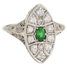 Antique Deco Diamond Ring Navette Emerald Vintage 14 Karat White Gold Filigree Sz 7