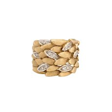Vintage Diamond Cigar Ring Leaf Design 14 Karat Yellow Gold Estate Jewelry Pinky 5