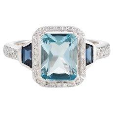 Blue Topaz Sapphire Diamond Ring Estate 18 Karat White Gold Alternative Engagement 5