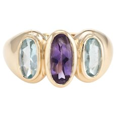 Vintage 3 Stone Blue Topaz Amethyst Cocktail Ring 14 Karat Yellow Gold Estate Jewelry