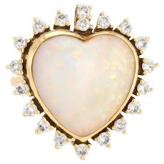Vintage Opal Heart Diamond Ring 18 Karat Yellow Gold Natural Gem Estate Fine Jewelry