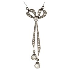 Antique Edwardian Bow Drop Necklace Platinum 14 Karat Gold Vintage Fine Jewelry