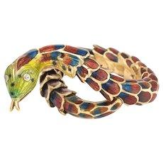 Vintage Snake Ring 18 Karat Yellow Gold Enamel Flexible Estate Fine Jewelry Scales