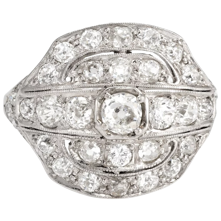 23b5954ac Antique Deco Diamond Ring 2.25ct Platinum Vintage Fine Jewelry : Sophie Jane  | Ruby Lane