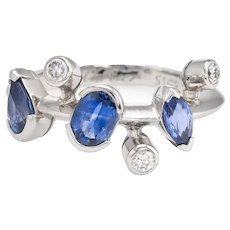 Vintage Cartier Meli Melo Blue Sapphire Diamond Ring Platinum Estate Jewelry 51