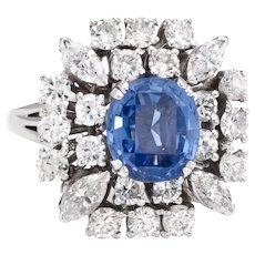 Vintage 50s Natural Ceylon Sapphire Diamond Ring 18 Karat White Gold Estate Jewelry