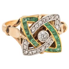 Antique Deco Emerald Diamond Ring Infinity 14 Karat Gold Platinum Vintage Calibre