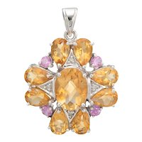 Citrine Pink Tourmaline Diamond Pendant 10 Karat White Gold Estate Fine Jewelry