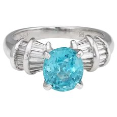 Natural Blue Zircon Diamond Ring Estate Platinum Fine Jewelry Engagement Sz 7