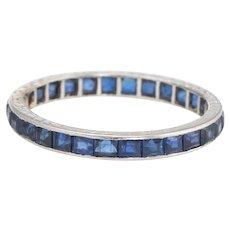 Antique Deco Sapphire Eternity Ring Platinum Sz 6 Vintage Fine Jewelry Heirloom