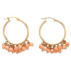 Vintage Coral Fringe Earrings Hoops 14 Karat Yellow Gold Estate Fine Jewelry