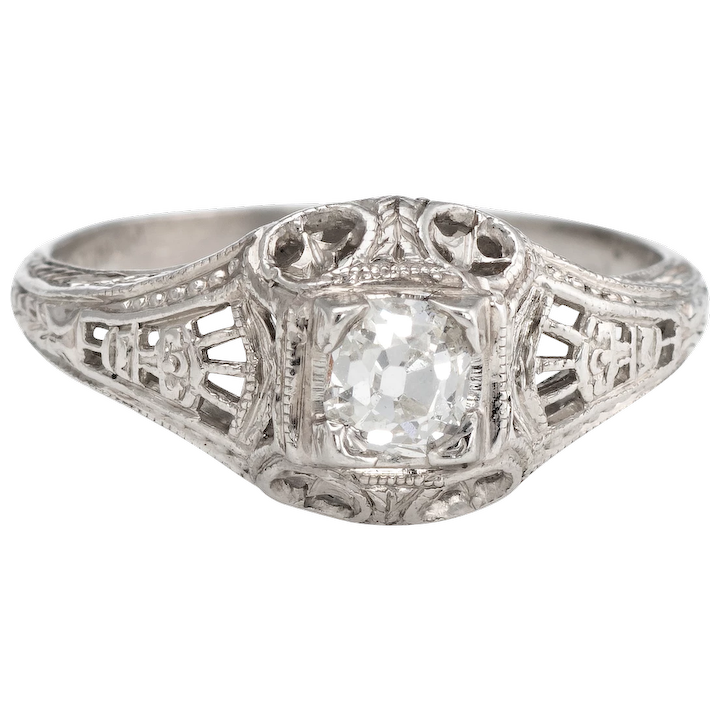 504d20df7 Antique Deco Diamond Ring Platinum Filigree Engagement Vintage Fine : Sophie  Jane | Ruby Lane