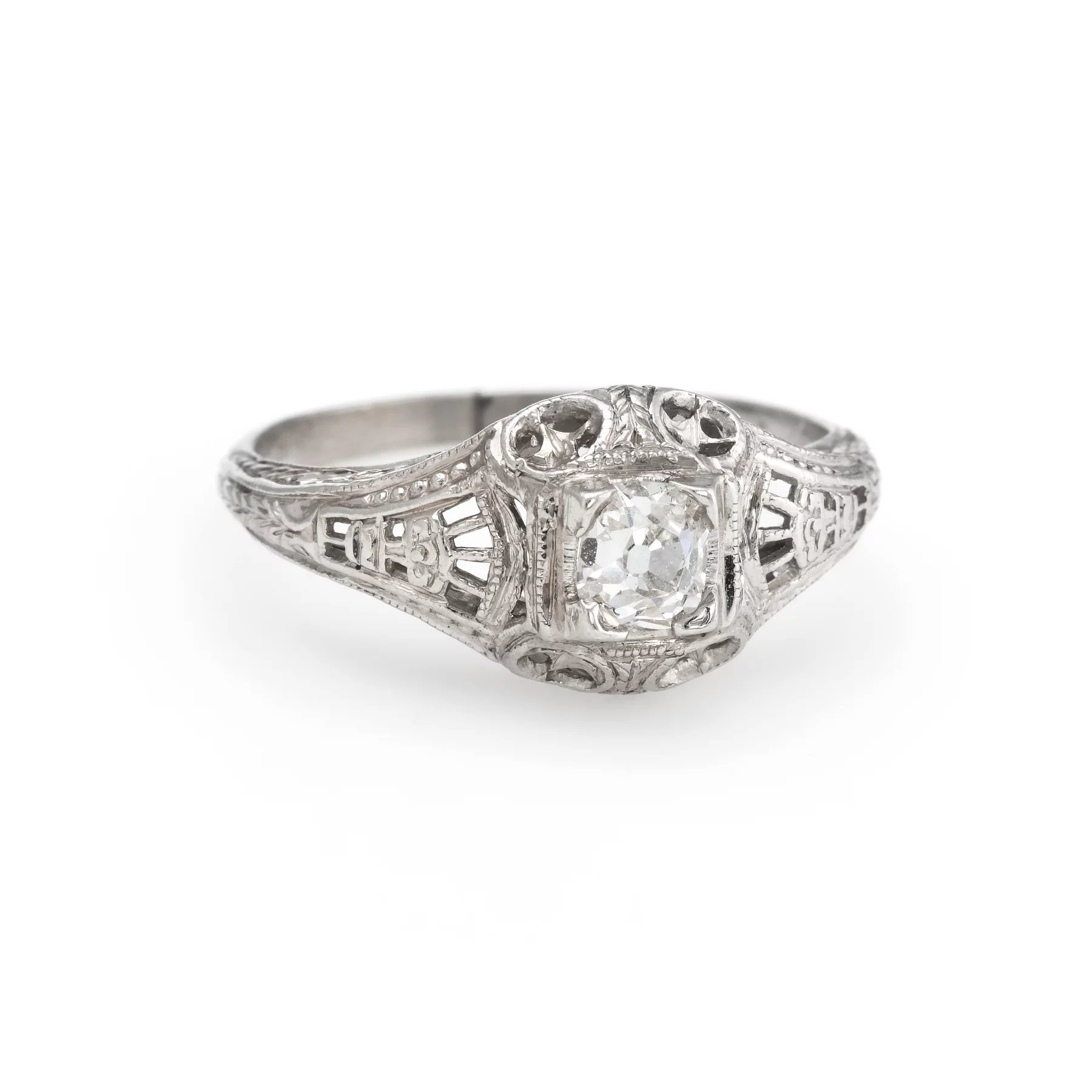 91d297888 Click to expand · Antique Deco Diamond Ring Platinum Filigree Engagement Vintage  Fine Jewelry 4