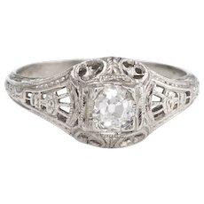Antique Deco Diamond Ring Platinum Filigree Engagement Vintage Fine Jewelry 4