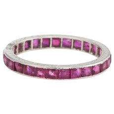 Antique Deco Ruby Eternity Ring Platinum Sz 5.75 Vintage Jewelry Heirloom