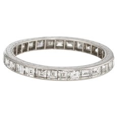 Antique Deco Carre Diamond Eternity Ring Platinum Sz 5.75 Vintage Fine Jewelry