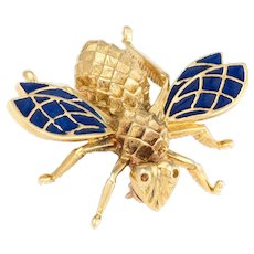 Vintage Bumble Bee Brooch Pin 14 Karat Yellow Gold Blue Enamel Wings Estate Jewelry