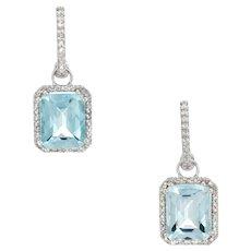 Blue Topaz Diamond Drop Earrings 14 Karat White Gold Estate Fine Jewelry Small Hoops