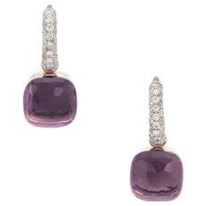Pomellato Nudo Earrings Amethyst Diamond 18 Karat Rose Gold Estate Fine Jewelry