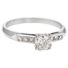Antique Deco Diamond Ring Platinum Engagement Vintage Fine Jewelry Sz 6.5