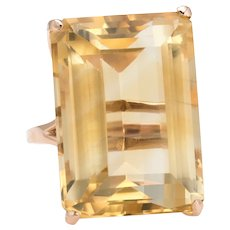 Vintage 45ct Citrine Ring Emerald Cut Large Cocktail Jewelry 14 Karat Yellow Gold
