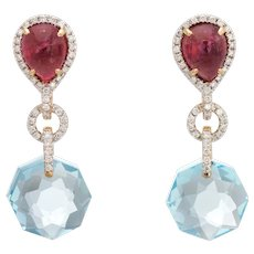 Estate Diamond Earrings Pink Tourmaline Blue Topaz 18 Karat Yellow Gold Drop Jewelry