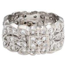 Vintage 1ct Diamond Eternity Ring Sz 7.25 Wide Band 14 Karat White Gold Estate Fine