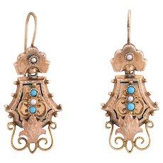 Antique Victorian Earrings Turquoise 10 Karat Rose Gold Vintage Fine Jewelry Heirloom