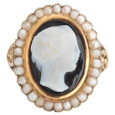 Antique Victorian Hard Stone Cameo Ring 14 Karat Yellow Gold Pearl Vintage Jewelry