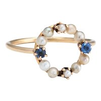 Antique Victorian Pearl Sapphire Conversion Ring 14 Karat Yellow Gold Vintage Sz 4