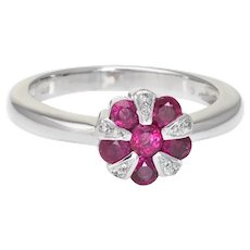 Estate Ruby Diamond Ring 14 Karat White Gold Round Stacking Candy Kane Jewelry 6.5