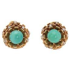 Vintage Cherny Turquoise Diamond Earrings 18 Karat Yellow Gold Round Estate Jewelry