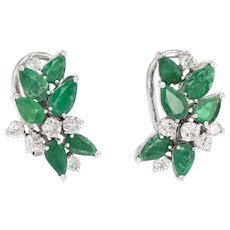 Vintage Emerald Diamond Earrings Cluster 18 Karat White Gold Estate Fine Jewelry