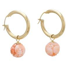 Vintage Hoop Earrings 14 Karat Yellow Gold Carved Coral Drops Gemstone Estate Jewelry