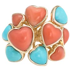 Vintage Coral Turquoise Ring 14 Karat Yellow Gold Cocktail Multi Hearts Jewelry