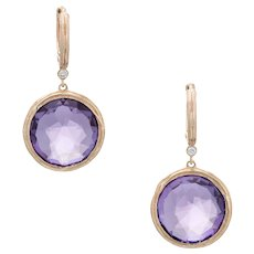 Estate Amethyst Earrings Vintage 14 Karat Yellow Gold Round Drops Fine Jewelry